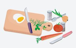 Kitchen objects. Vegetables, herbs, chopping board, spices and knife on the white background Stock Photography