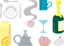 Kitchen objects. Kitchen food and drink object illustrations royalty free illustration