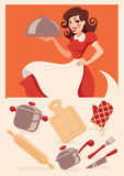 Kitchen objects. And cartoon housewife Stock Illustration