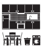 Kitchen objects, furniture and equipment. Illustration Royalty Free Stock Photo