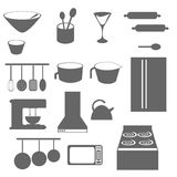 Kitchen Objects Silhouette Royalty Free Stock Photography
