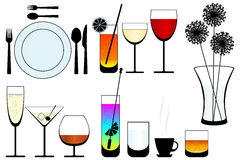 Kitchen objects silhouette vector Stock Images
