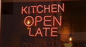 Kitchen Open Late Neon Sign Royalty Free Stock Image