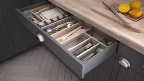 Kitchen opened drawer full of kitchenware. 3D illustration Royalty Free Stock Photo