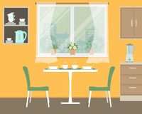 Kitchen in orange color Stock Images