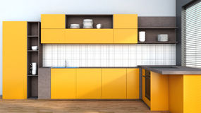 Kitchen in orange Royalty Free Stock Photos