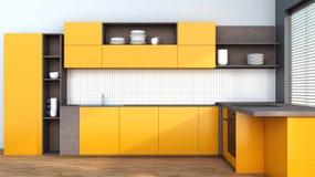 Kitchen in orange Royalty Free Stock Photos