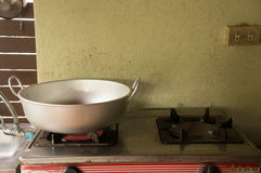 Kitchen. An outdoor kitchen with a frying pan set Royalty Free Stock Image