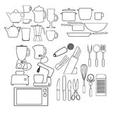 Kitchen outline icons Stock Image