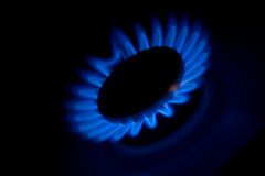 Kitchen oven burning gas Royalty Free Stock Photo