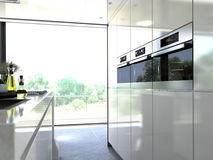 Kitchen oven modern steel built in to a unit. 3d Royalty Free Stock Photos