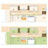 Kitchen overlooking the front, in a flat layout design, two color set Royalty Free Stock Images