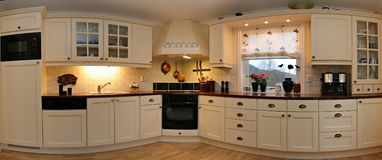 Kitchen Panorama. Panorama image of a kitchen. Composite of 7 images royalty free stock image
