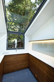 Kitchen with panoramic window Royalty Free Stock Photos