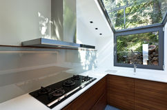 Kitchen with panoramic window Stock Photos