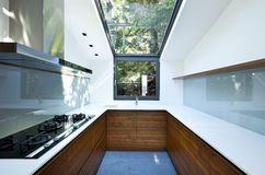 Kitchen with panoramic window royalty free stock photography