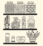 Kitchen or pantry shelves with goods. For your design.Rustic style kitchen Black and white doodle background Stock Image