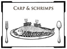 Kitchen of the past,food engraving collage, carp and shrimps pla Stock Photos