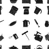 Kitchen pattern icons in black style. Big collection of kitchen vector symbol stock illustration Stock Photo
