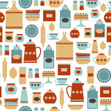 Kitchen pattern. Seamless pattern with vintage kitchen items Royalty Free Stock Image