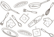 Kitchen pattern. Vector illustration of a kitchen pattern. Linear drawing Royalty Free Stock Images
