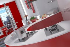 Kitchen Photo realistic Render Stock Photography
