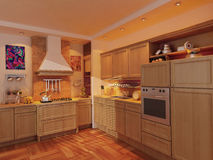 Kitchen Photorealistic Render Royalty Free Stock Images