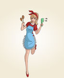 Kitchen pinup. Image of a pin up style cartoon holding kitchen equipment Stock Photo