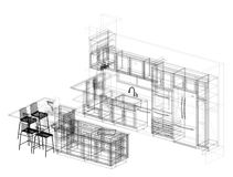Kitchen Plan Architect Blueprint - isolated. Shoot Of The HKitchen Plan Architect Blueprint - isolated Royalty Free Stock Photography