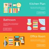 Kitchen Plan and Bathroom Vector Illustration Royalty Free Stock Photo