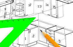Kitchen plan Stock Images