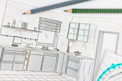 Kitchen planning Royalty Free Stock Image