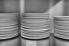 Kitchen Plate Piles BW Royalty Free Stock Photos