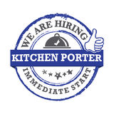 Kitchen porter , we are hiring - printable labled Stock Images