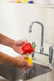 Kitchen porter washing vegetable under running tap Royalty Free Stock Photos