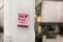 Kitchen, Post-it note, eat more fish Stock Photography
