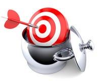 Kitchen pot with bull`s eye. On white background Stock Image
