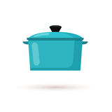 Kitchen Pot Flat Style Vector Illustration. Kitchen pot isolated on white background. Cartoon saucepan, subject of to cooking. Flat style vector illustration Royalty Free Stock Photography