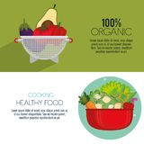 Kitchen pot with fresh and organic vegetables. Vector illustration design royalty free illustration