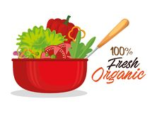 Kitchen pot with fresh and organic vegetables. Vector illustration design Stock Images