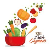 Kitchen pot with fresh and organic vegetables. Vector illustration design stock illustration