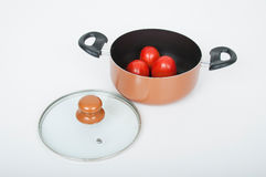 Kitchen pot with glass lid on white background Royalty Free Stock Photos