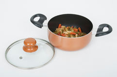 Kitchen pot with glass lid on white background Royalty Free Stock Photography