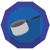 Kitchen pot illustration. With blue badge background Royalty Free Stock Photos
