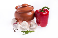 Kitchen pot and vegetables Royalty Free Stock Photography