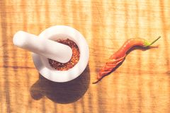 Powder paprika . Kitchen,powder paprika and fresh paprika Royalty Free Stock Photo