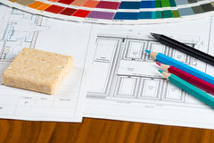 Kitchen project with palette, material samples, pencils Stock Images