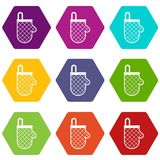 Kitchen protective glove icon set color hexahedron Royalty Free Stock Image
