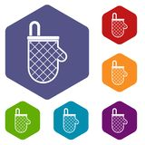 Kitchen protective glove icons set hexagon Royalty Free Stock Photo