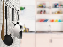 Kitchen rack hanging with kitchen background Stock Photos